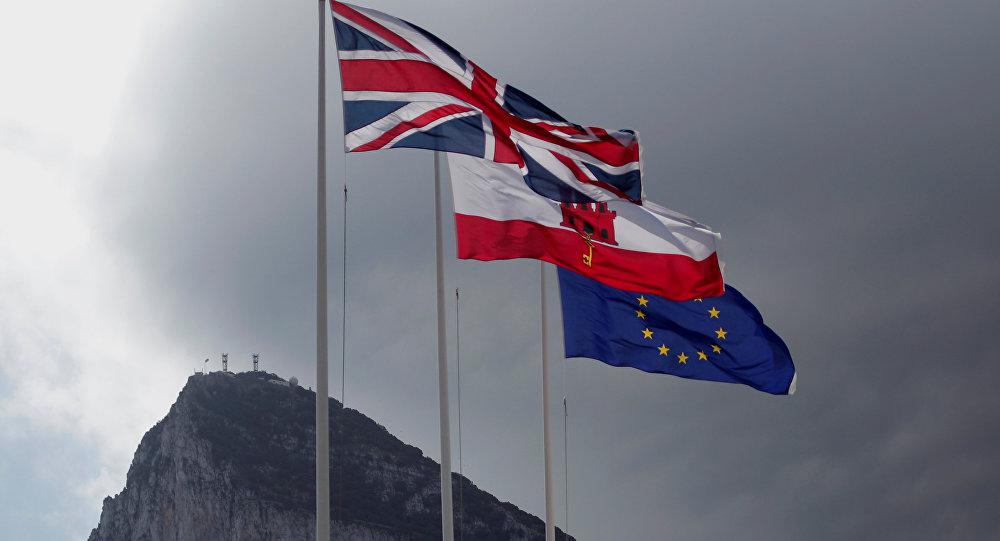 Las banderas del Reino Unido, Gibraltar y la UE