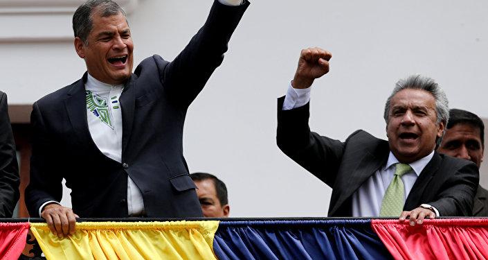 Expresidente de Ecuador, Rafael Correa el actual presidente Lenin Moreno