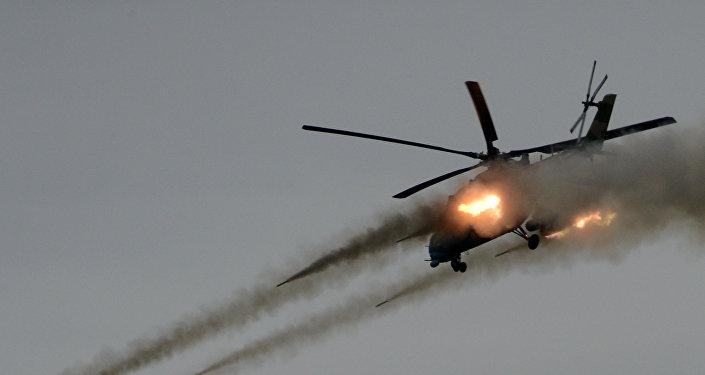 Helicóptero ruso Mi-35 en acción