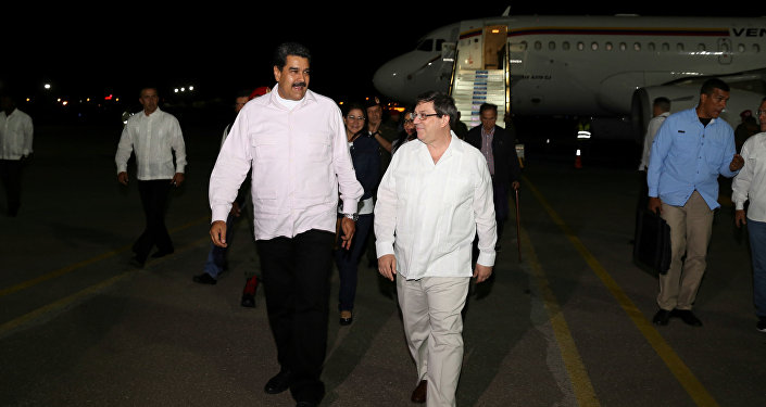 Nicolás Maduro, presidente venezolano y Bruno Rodríguez, canciller de Cuba