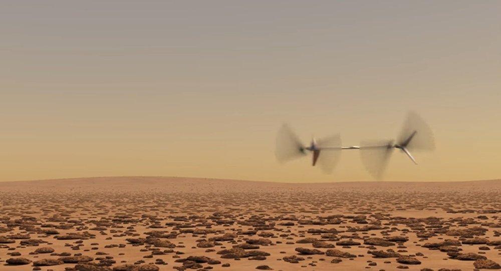 Recreación de la NASA del futuro dron marciano