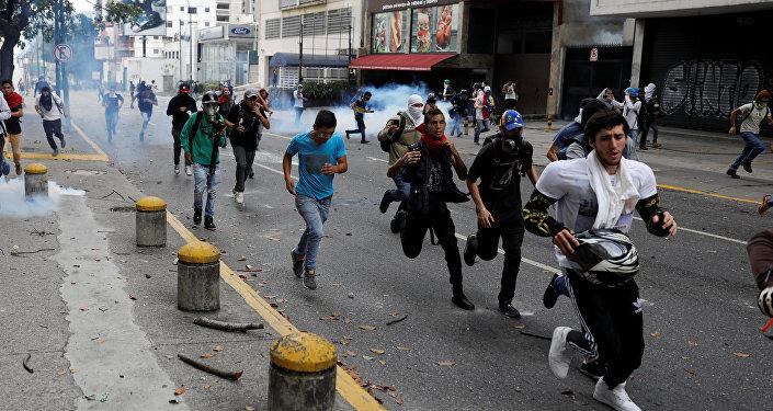 Manifestantes en Caracas, Venezuela