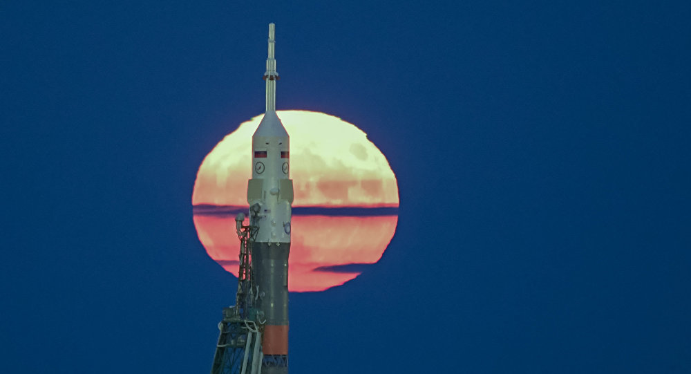 La nave Soyuz-MS en el cosmódromo ruso Baikonur