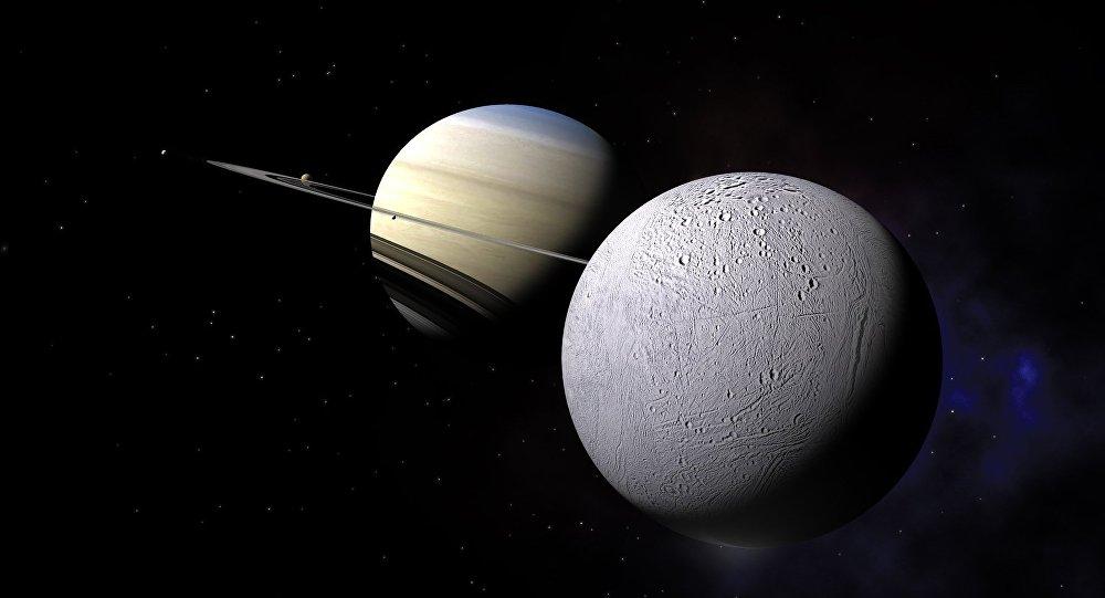 Encélado orbita alrededor de Saturno (ilustración gráfica)