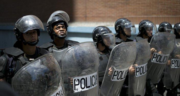 Policía venezolana en la ciudad Los Teques