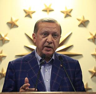 Turkey's President Recep Tayyip Erdogan makes statements in Istanbul