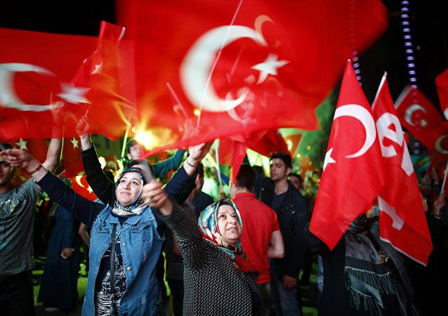 Los partidarios del presidente turco Erdogan