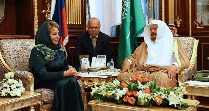 Valentina Matvienko durante su visita a Arabia Saudí
