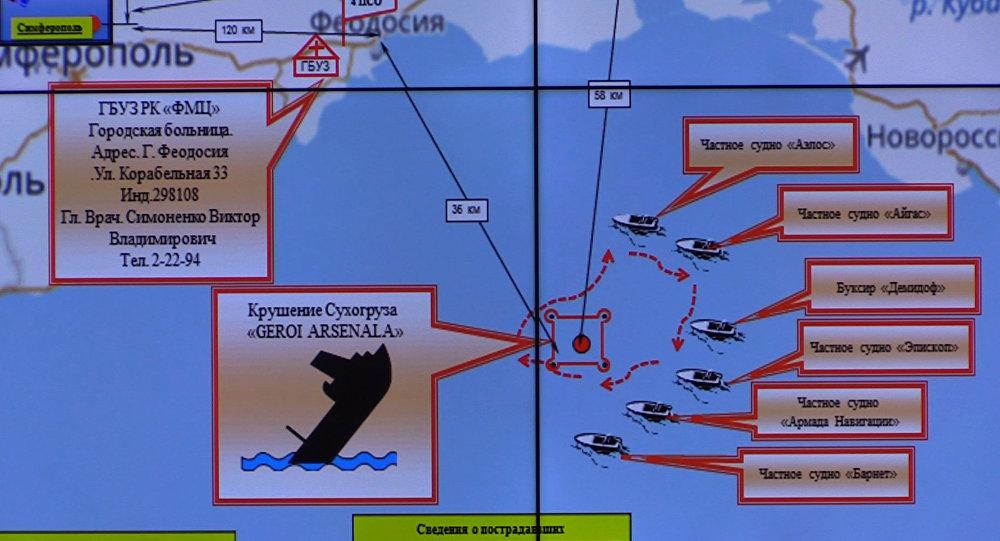 Mapa de la operación de rescate en el Mar Negro