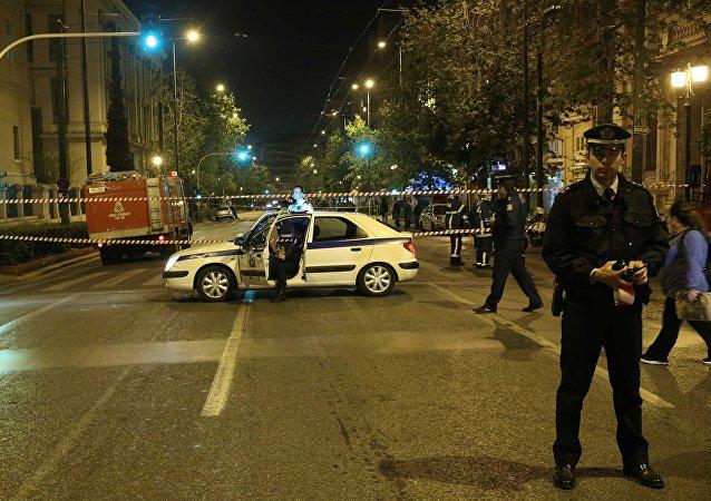 Explosión en un banco de Atenas
