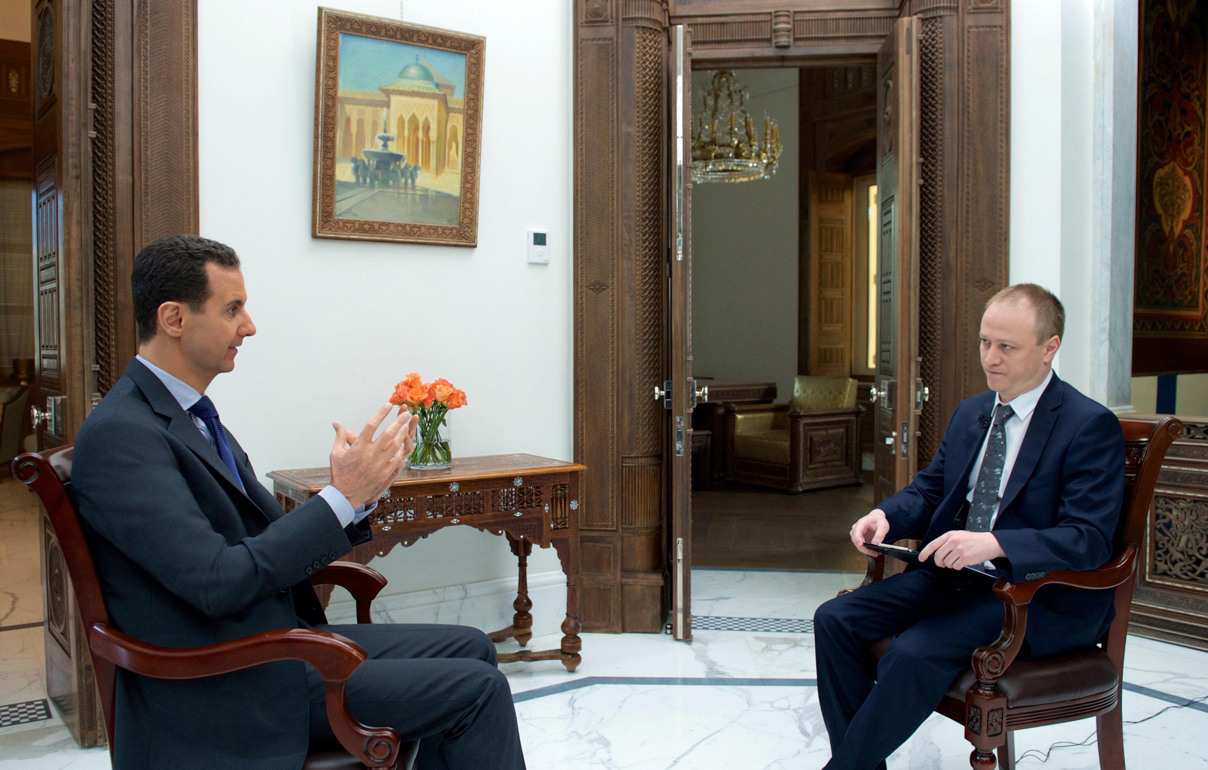 Bashar Asad, presidente sirio, durante la entrevista