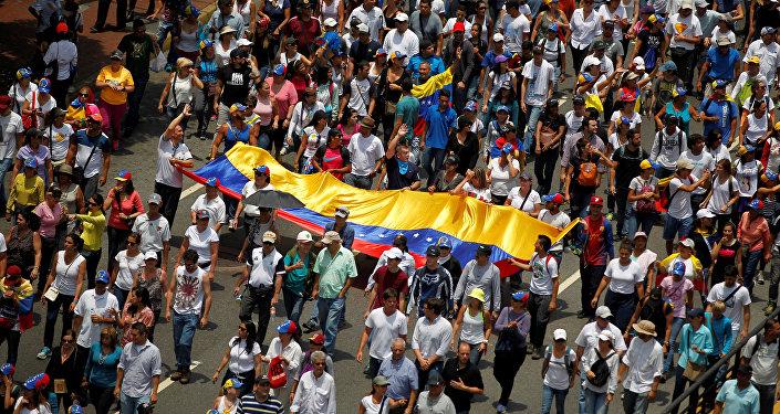 Manifestación de oposición en Venezuela