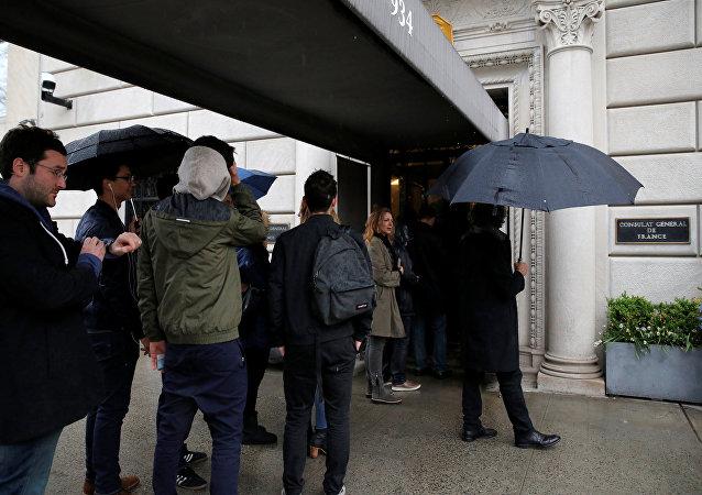 La votación en las presidenciales francesas en el consulado general en Nueva York