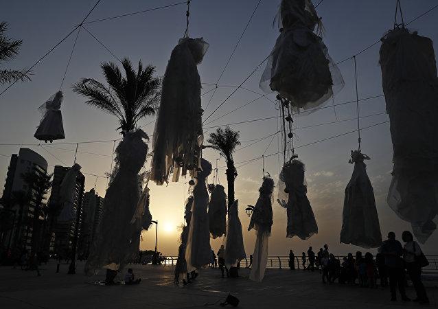Acción de protesta en Beirut