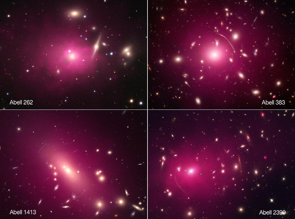 En la imagen, los rayos X se muestran en rosa. Se trata de las constelaciones de Andrómeda, Eridanus, Leo y Pegaso, situadas a billones de años luz de la Tierra.