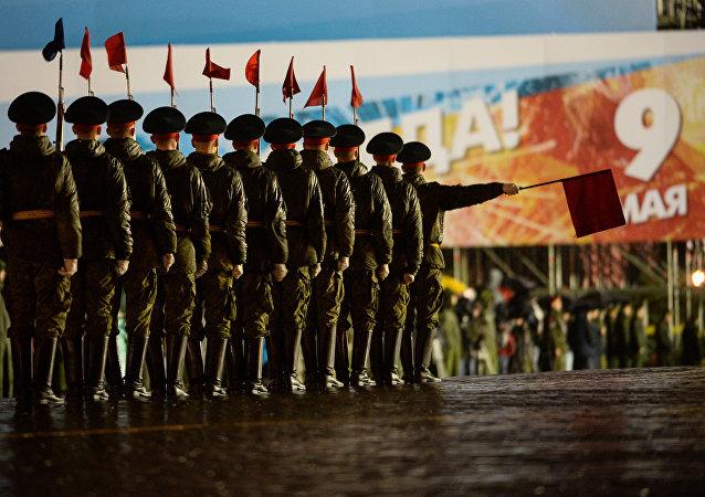 Ensayo del desfile de la Victoria en la Plaza Roja