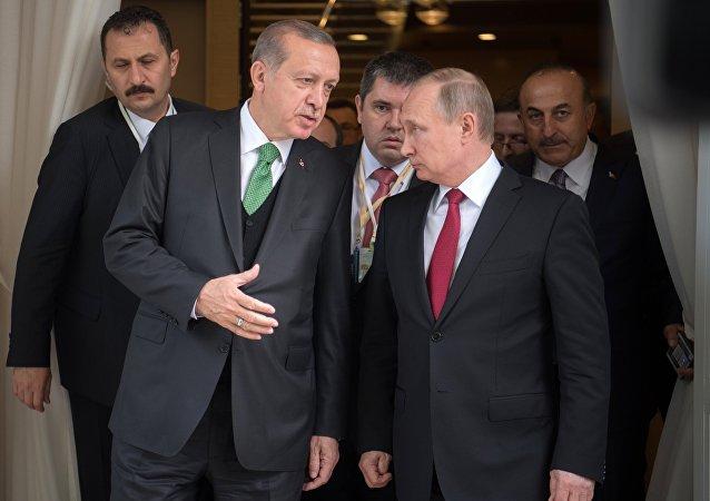 El presidente de Rusia, Vladímir Putin, y su homólogo turco, Recep Tayyip Erdogan (archivo)