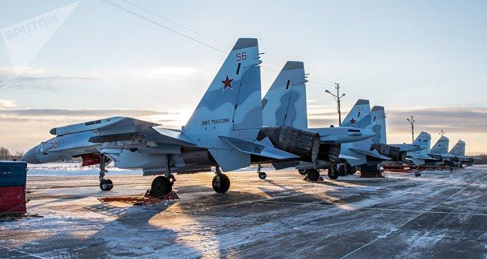 Cazas Su-35 rusos (archivo)