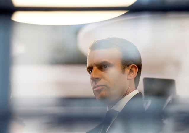 Emmanuel Macron, el líder del partido ¡En Marcha! y candidato presidencial en Francia