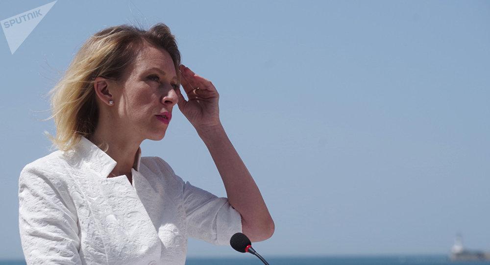La portavoz de la cancilleria rusa, Maria Zajárova, durante una reunion con la prensa en Sebastopol, Crimea