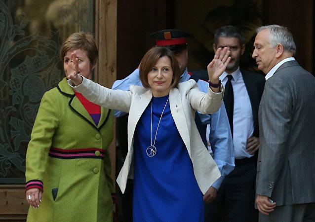 Carme Forcadell, presidenta del Parlamento catalán,llega al Tribunal Superior de Justicia de Cataluña
