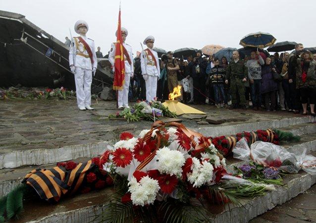 El complejo memorial Saur-Mogila en la república de Donetsk en vísperas del Día de la Victoria