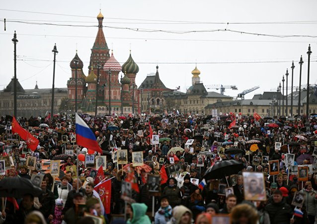 Regimiento Inmortal toma las calles de Moscú