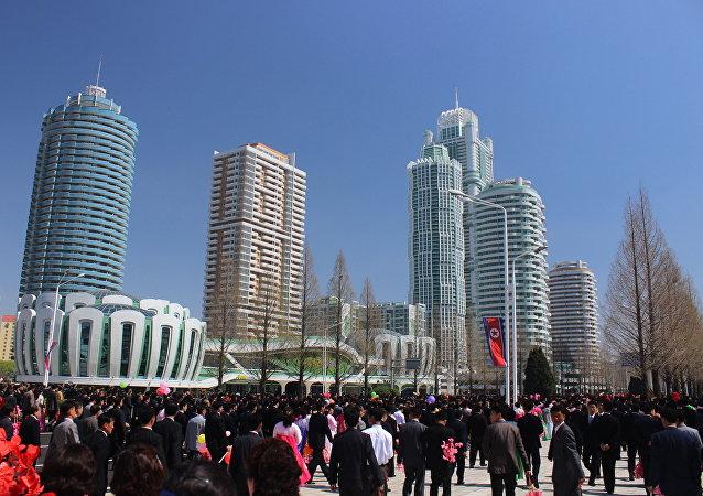 La ceremonia de la inauguración del distrito Ryomyong en Pyongyang (Archivo)