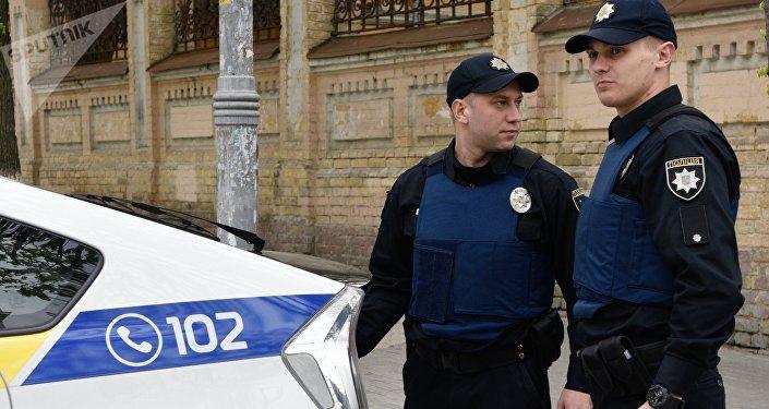 Policías ucranianos, foto de archivo