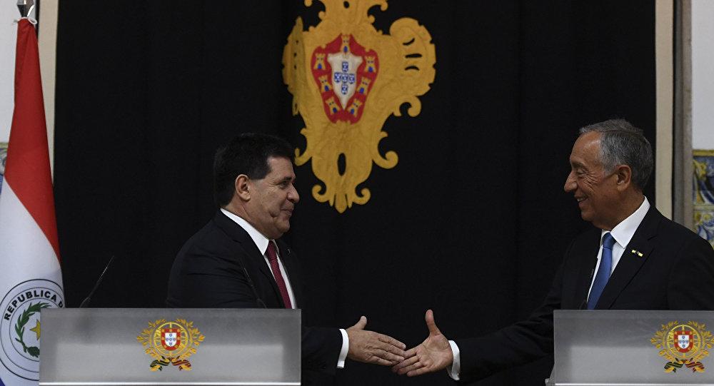 Horacio Cartes, presidente de Paraguay y su homólogo portugués, Marcelo Rebelo de Sousa