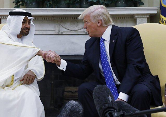 El príncipe heredero de Abu Dabi, Mohamed bin Zayed al Nahyan, y el presidente de EEUU, Donald Trump