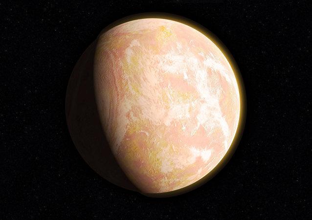 Ilústración gráfica de un exoplaneta