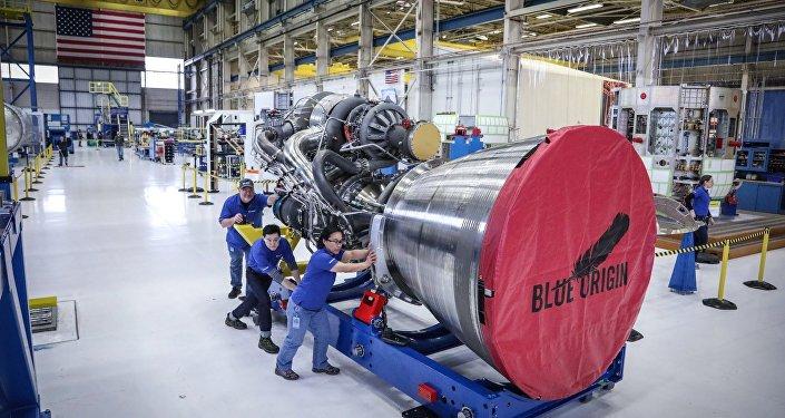 Uno de los propulsores BE-4 de Blue Origin (archivo)