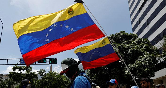 La oposición venezolana con las banderas del país (archivo)