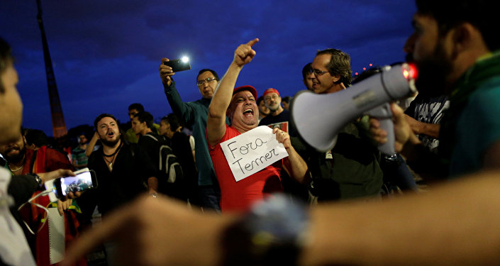 Protesta contra Michel Temer en rasil