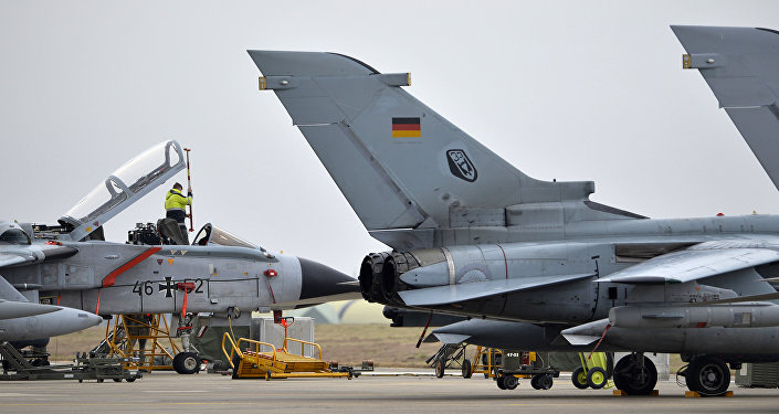 A technician works on a German Tornado jet at the NATO air base in Incirlik, Turkey. (File)