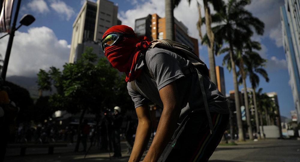 Protestante en Caracas, Venezuela