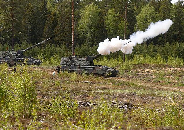 Tanques alemanes durante los ejercicios de la OTAN en Lituania (archivo)