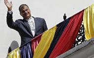 Rafael Correa, presidente saliente de Ecuador, durante la última celebración de Cambio de Guardia