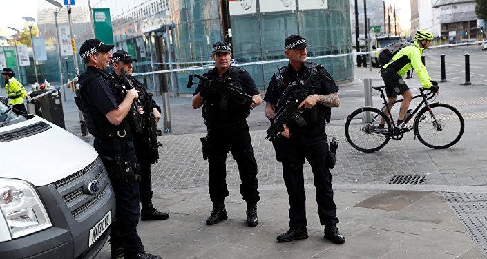 Policía británica en Mánchester