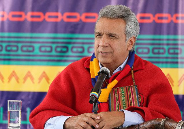 El presidente de Ecuador, Lenín Moreno, asistió a una ceremonia con organizaciones indígenas, las que le entregaron el bastón de mando espiritual.