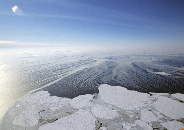 Imagen aérea del estrecho de Bering