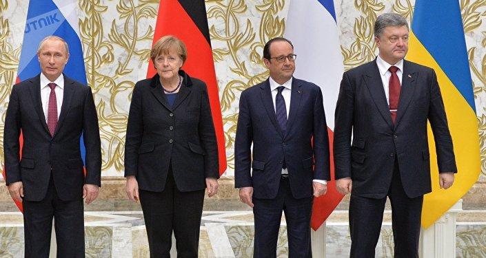 Líderes de los países miembros del Cuarteto de Normandía