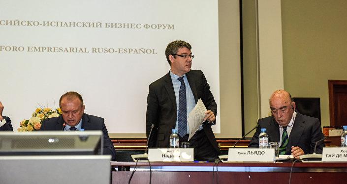 Álvaro Nadal, el ministro de Energía, Turismo y Agenda Digital de España, durante el Foro Empresarial Hispano-Ruso, en la sede de la Cámara de Comercio de Moscú