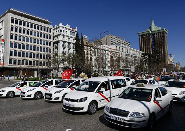 Taxistas protestando en Madrid (archivo)