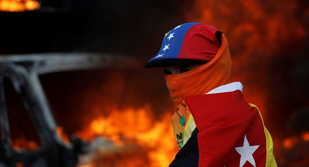 Participante de las protestas en Caracas, Venezuela