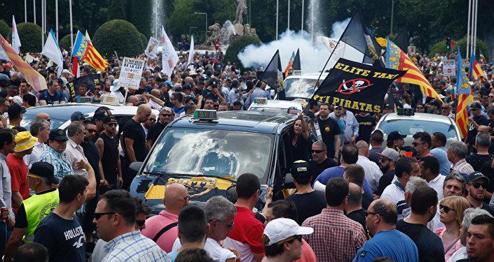 Protestas de taxistas en Madrid