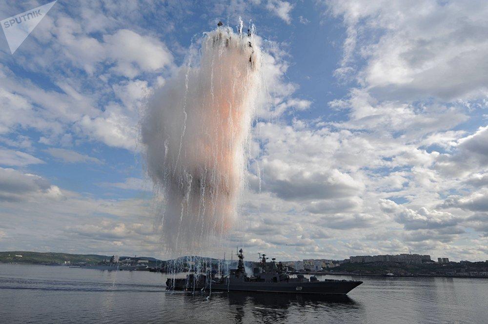 El destructor Severomorsk durante el desfile en el Día de la Armada de Rusia, 2014