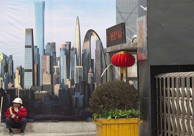 Construcción de rascacielos en Pekín (archivo)