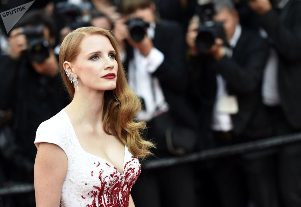 La actriz estadounidense Jessica Chastain en la ceremonia de clausura del 70 Festival de Cannes